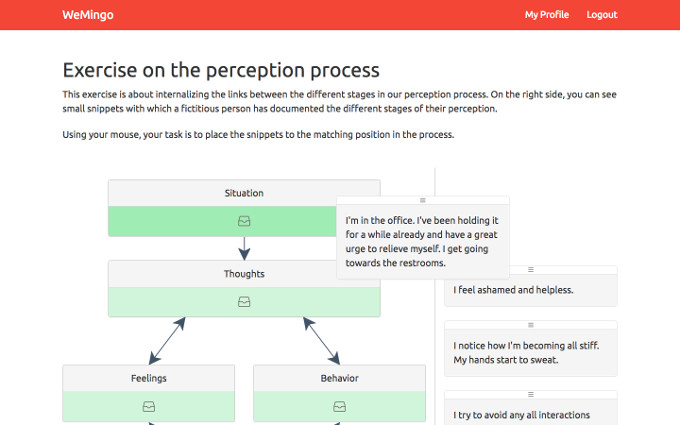 Screenshot of an exercise on our process of perception: How do thoughts influence my feelings?
